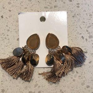 H@M tan/light brown/gold earrings